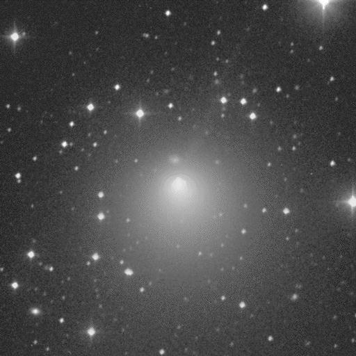This is an image of short-period comet Encke obtained by Jim Scotti on 1994 January 5 while using the 0.91-meter Spacewatch Telescope on Kitt Peak. The image is 9.18 arcminutes square with north on the right and east at top. The integration time is 150 seconds.