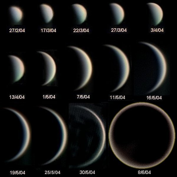 Phases of Venus taken by Statis Kalyvas of Thessalonica, Greece in 2004. Image from the European Southern Observatory via Wikipedia Commons.