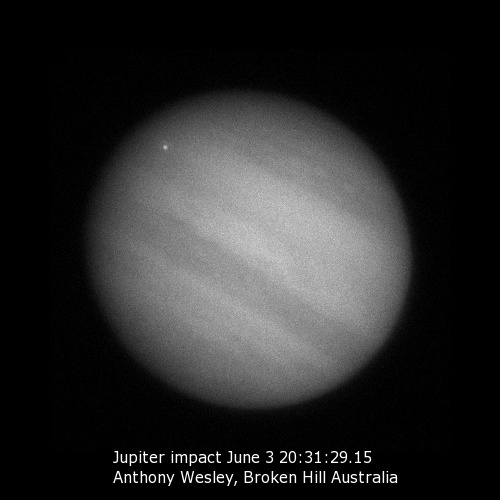 "Video image showing the June 3rd impact ""flash"" on Jupiter. Credit: Anthony Wesley."