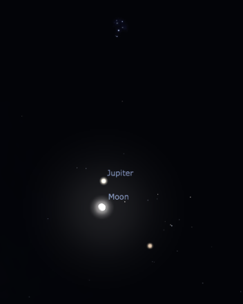 Christmas evening conjunction as seen from Tucson at 7:00 pm. Created with Stellarium.