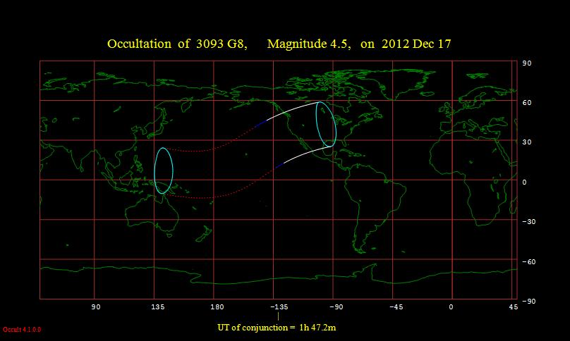 Map of the path of the occultation. Credit: IOTA.