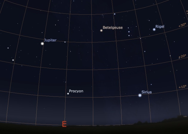 Night sky for northern mid-latitudes around 6:45 pm. Chart created with Stellarium. Credit: Carl Hergenrother.