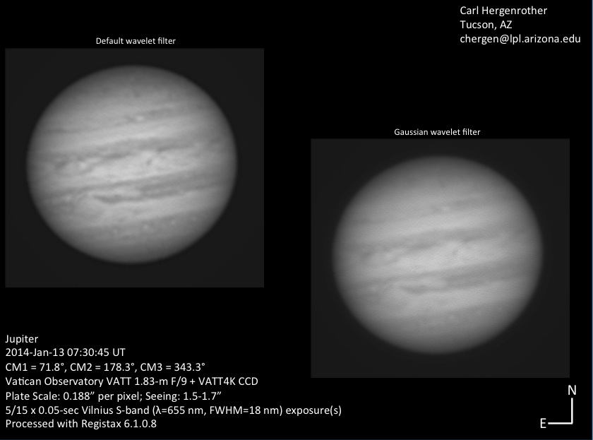 Jupiter from the VATT 1.8-m on January 13, 2014 UT. Note, the 'Great Red Spot' is visible. Credit: Carl Hergenrother, Vatican Observatory, University of Arizona.