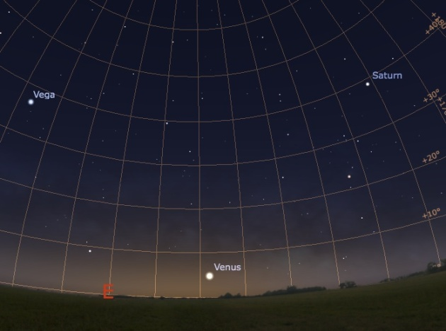 View of the early morning eastern sky from northern mid-latitudes around 6:35 am. Chart created with Stellarium. Credit: Carl Hergenrother.